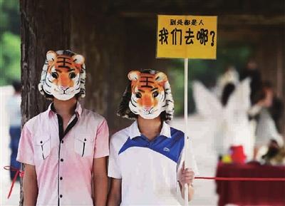 两位大学生戴着老虎面具