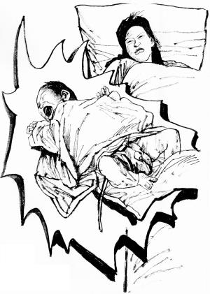 冬季羽绒手绘插画