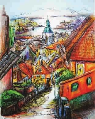 【彩色铅笔画】挪威乡村小镇等