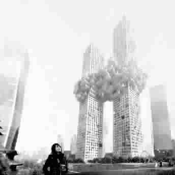 似纽约世贸中心双塔遇袭喷烈焰