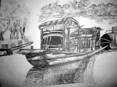 铅笔手绘船