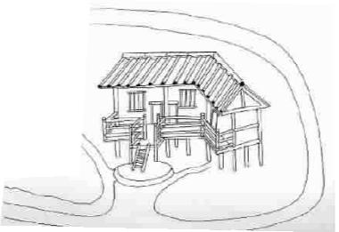古城民居多采用干栏式建筑结构图片
