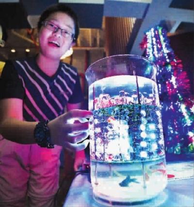 焊接上百个灯泡,让彩灯在水下亮起来,对学生的动手能力提出了