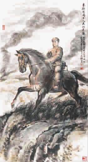 朱德总司令(国画) 叶雄(中国美术家协会会员)-长城颂