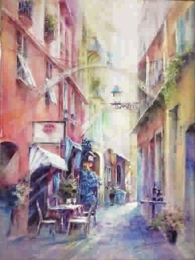 彩虹街 水彩画
