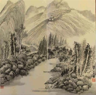 画家虽然采用积墨法,但由于注意通过留白来畅通气脉,反而增添了清寂宁