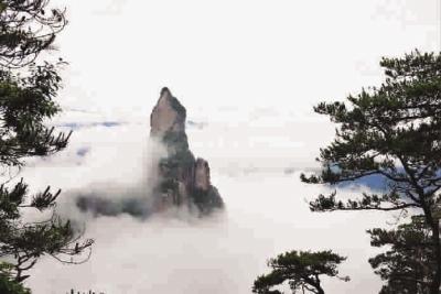 图为6月15日拍摄的神仙居风景区云雾缭绕的美景