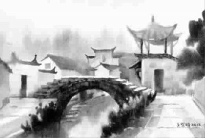 查济雨色 水彩画
