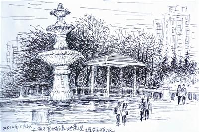欧式复古建筑素描