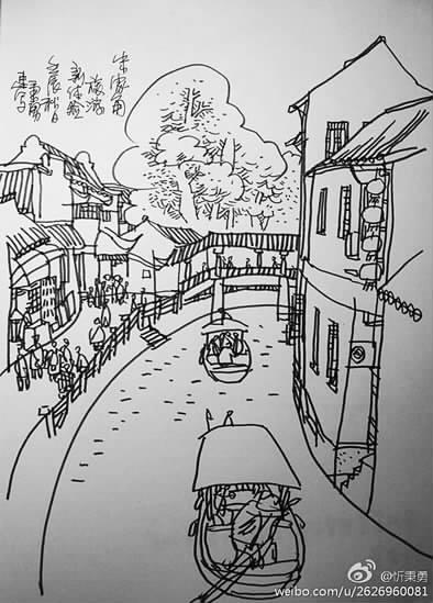 江南船简笔画